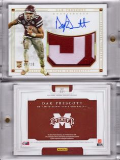 Football Cards 215: 2016 National Treasures Dak Prescott #4 10 Jersey Number 1 1 Rookie Auto Rc -> BUY IT NOW ONLY: $500 on eBay!