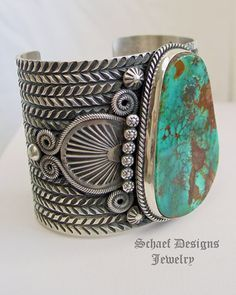 AAA Natural Gem Grade Pilot Mountain Turquoise & Sterling Silver Large Cuff Bracelet artist signed Darryl Cadman online upscale native american jewelry boutique gallery Schaef Designs Southwestern turquoise Jewelry New Mexico Navajo Jewelry, Southwest Jewelry, Boho Jewelry, Stone Jewelry, Silver Jewelry, Jewelry Design, Silver Ring, Silver Cuff, Silver Bracelets
