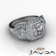 Asscher Diamond Three Stone Engagement GIA H VS2 14k White Gold Pave Ring 2 05ct   eBay