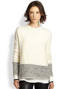 Vince Wool, Silk & Cashmere Colorblock Sweater
