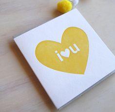 I #love you, Big I heart U, #Letterpress Card in sunny #yellow simple & bright. Valentine\'s Day, bright romantic love  card, Made in Australia  Big bold and bright all occasio... #handmade #etsy #letterpress #perth #westernaustralia #greetingcards #letterpresslove #letterpressisourbusiness #romanticcards #weddingcard #etsyau #neon #bright #loud #sunshine ➡️ jto.li/wbtxv