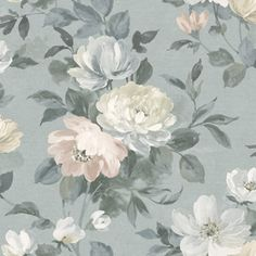 Papier peint Peony Bleu sarcelle- Collection In Bloom - Boråstapeter Grey Wallpaper Samples, Grey Floral Wallpaper, Wallpaper Online, Colorful Wallpaper, Botanical Wallpaper, Purple Wallpaper, Plant Wallpaper, Watercolor Wallpaper, Wallpaper Roll