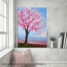 Cherry blossom painting Palette knife Tree Floral art