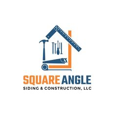 Square Angle Siding & Construction - Siding and Roofing Construction Company Logo and Card This is a construction company that focuses on exterior siding and roofing replacement and exterior repairs. The targ. Construction Company Logo, Construction Business, Civil Construction, Construction Birthday, Construction Design, Building Logo, Business Card Logo, Business Card Design, Carte De Visite