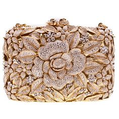 Swarovski Crystal Flower Clutch in Gold found on Polyvore
