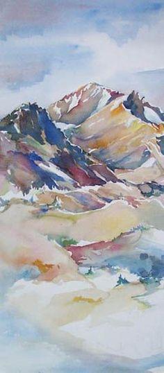Kim Solga - Paintings Landscapes Mount Shasta Green Butte Old Ski Bowl California watercolor