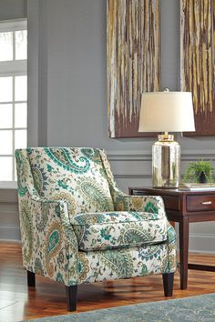 Living Room Accent Chair: Lochian Accent Chair with Arms by Ashley Furniture at Kensington Furniture. It perfectly matches the coastal Lochian sofa and loveseat, too!
