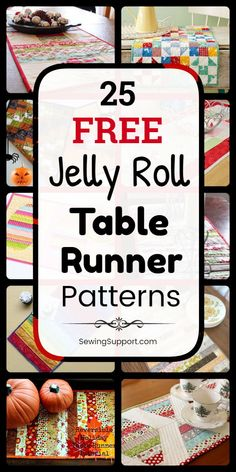 25 free jelly roll table runner patterns, tutorials, and diy proje Table Runner And Placemats, Table Runner Pattern, Quilted Table Runners, Quilted Table Toppers, Jelly Roll Quilt Patterns, Quilt Patterns Free, Placemat Patterns, Block Patterns, Jellyroll Quilts