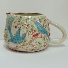 Daddy show off . Milk jug 2/3 pint . I have sticks - I can build you a nest , I will provide for you . I have a fancy tail I can jig it & dazzle you. So how about it honey ? Wanna nest? ---------------------------------------------- #bird #bluebirds #nesting #cherry #tree #foliage #jug #milkjug #custardjug #illustration #ilustracion #ilustración #ceramics #seramik #keramika #keramik #ceramica #pots #pottery #fruit #courting #sgraffito