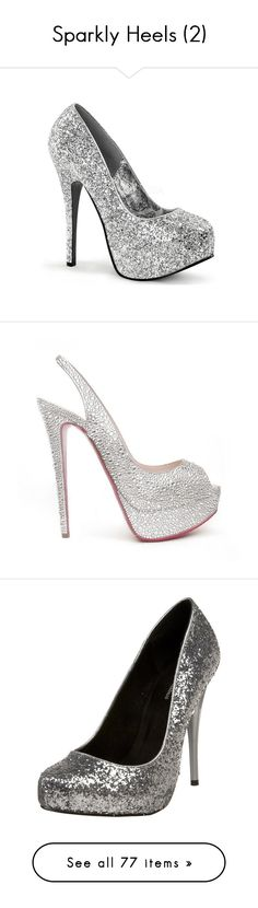 """Sparkly Heels (2)"" by o-hugsandkisses-x ❤ liked on Polyvore featuring shoes, pumps, heels, famous footwear, glitter shoes, breast pump, stiletto pumps, high heel pumps, high heels and louboutins"