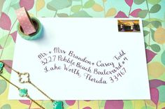 Hand addressed envelope  Wave Style by LilyamongThistles on Etsy, $1.00 gorgeous!