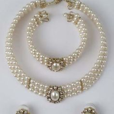 Vintage Style Faux Pearl Bridal Jewelry Set