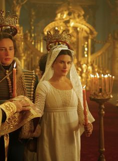 War and Peace (2007) - Valentina Cervi as Marja Bolkonskaya wearing an Empire-line wedding dress with beaded bodice and broderie anglaise sleeves, plus an embroidered and beaded veil. The costumes were designed by Enrica Biscossi.