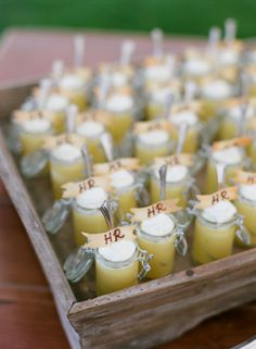 Yummy food favors: http://www.stylemepretty.com/2014/05/22/modern-meets-rustic-in-wyoming/   Photography: Carrie Patterson - http://www.carriepattersonphotography.com/