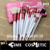 Promoción, maquillaje Hot Pink 20pcs pelo de la cabra Cepillo Kits Set Pro cosméticos Cepillos para herramientas con la bolsa de cuero libre