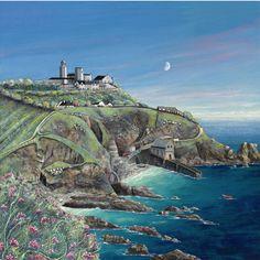Lizard Point by Gilly Johns. Seaside Art, Beach Art, England Ireland, Homemade Art, Cornwall England, Folk, Art Uk, Naive Art, Hand Embroidery