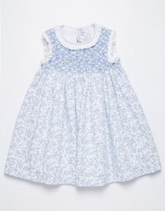 NECK & NECK | AQUA BLUE FLOWERS SMOCK DRESS - GIRL