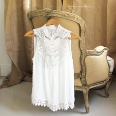White Bohemian Inspired Top with Laced Trimming on Front: $46, Lace Trimmed Hem