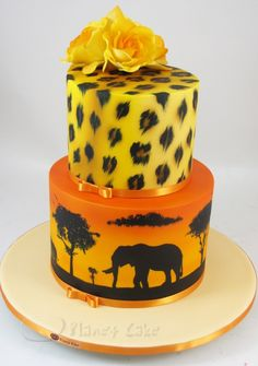 Africa Themed Cake Hand Painted www.planetcake.com.au