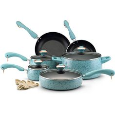 A lovely dinner cookware set that features fifteen pots and pans, each decorated with a speckled turquoise exterior and a reflective nonstick interior. All items have comfortable dual-riveted grips, while each pot comes with a tempered glass lid.