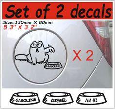 2 X Simon's cat #1 Funny Stickers Decals Graphics Vinyl Car Window Bumper Kitty