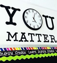classroom decor created quite the eye-catching triple border combination (using our lime green dots), and the use of her classroom clock as a motivational component is just as adorable. Such a clean look! Thank you for using our Lime Polka Dots Border wit Classroom Clock, 5th Grade Classroom, Middle School Classroom, Classroom Design, Future Classroom, Classroom Themes, Classroom Organization, Classroom Management, Classroom Wall Decor