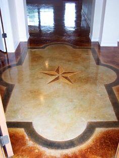 Custom concrete floor design - scalloped border with Texas Star. Concrete flooring by Texas Etch & Score of Marble Falls, Texas