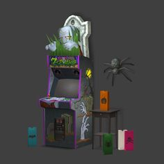 Happy Simblreen Friday! 3t2 conversions MySims zombie arcade game spider and luminarias from the No Tricks, Just Treats store set Polycounts arcadegamezombie 1300 (requires Uni) halloween4_candle 192 halloween4_spider 442 ts2 download sfs