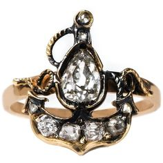 Preowned Victorian Era Anchor Ring With Rose Cut And  Mine Cut... ($3,950) ❤ liked on Polyvore featuring jewelry, rings, red, antique rings, victorian diamond ring, antique diamond ring, antique jewelry and pre owned diamond rings
