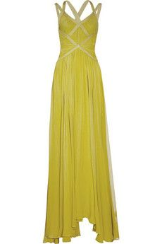 Pleated silk-chiffon gown from Herve Leger