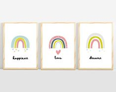 Cute rainbow print for baby room. Pink, blue, and yellow rainbow wall art. Colorful nursery wall art and prints for baby girl décor. Girls room décor with rainbows, stars, and hearts. Kids room décor with love, happiness, and dreams quotes. Simple baby room décor, fun playroom wall art. 🖤 Get excited about decorating for your little one! #sunnyandpretty #rainbownurseryprint #rainbownurserywallart Nursery Artwork, Nursery Paintings, Nursery Wall Decor, Baby Room Decor, Nursery Themes, Nursery Prints, Nursery Ideas, Playroom Ideas, Girl Nursery