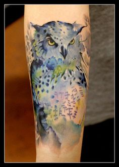 Beautiful watercolor owl tattoo....Tattoo by: Richard Garcia. Instagram: @Richard Garcia Legacy Arts Tattoo, Dallas, TX