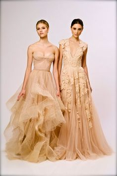 Reem Acra Pre-Spring 2013....love the silhouette on the right but not quite so low cut and in burnt orange.