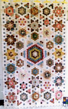 patchwork hexagon, quilt projects, hexagon quilt, antiqu quilt