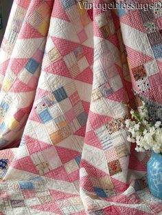 Where do you find inspiration for your quilts? I know a lot of people find it in nature or architecture. Scrappy half squares While I have found inspiration in these. Pink Quilts, Old Quilts, Antique Quilts, Scrappy Quilts, Patchwork Quilting, Quilt Baby, Vintage Quilts Patterns, Quilt Patterns, Patch Quilt