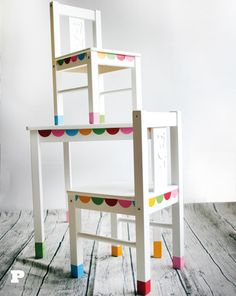Re-paint kids table from ikea with bright colors