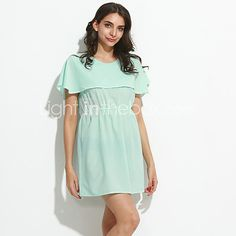 Women's Plus Size / Casual/Daily Simple Layered Hin Thin Chiffon DressSolid Round Neck Above Knee Short Sleeve - USD $9.99 ! HOT Product! A hot product at an incredible low price is now on sale! Come check it out along with other items like this. Get great discounts, earn Rewards and much more each time you shop with us!