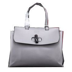 Gucci Bamboo Daily Leather Top Handle Bag 370831 Grey - $239.00