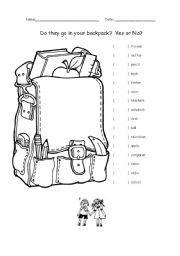 English worksheet: school stationery worksheet (2 pages