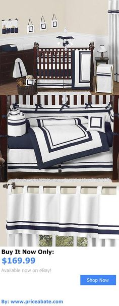 Baby Nursery: Contemporary Modern Navy And White Discount Cheap Baby Boy Girl Crib Bedding Set BUY IT NOW ONLY: $169.99 #priceabateBabyNursery OR #priceabate