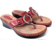 MINNETONKA Sandals 9 Red Leather COMFORT Wedge Slip On Shoes Heels