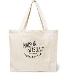 MAISON KITSUNÉ . #maisonkitsuné #bags #hand bags #canvas #tote #