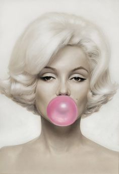 Marilyn Monroe Pink Bubblegum on Canvas Canvas is supplied hand stretched and ready to hang. FREE UK MAINLAND COURIER DELIVERY Unlike many