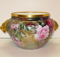Fantastic Antique French Limoges Hand Painted Signed Jardiniere with Roses Lion Head Handles 1902
