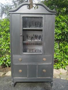 Antique China Cabinet, Black  buffets and sideboards