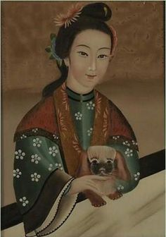 Chinese reverse glass painting with a Pekingese 1900