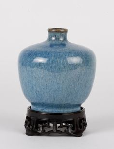 "Qing Dynasty Peacock Blue Glazed Flower Vase Dimension: 4 1/4""H ( w/o stand)"