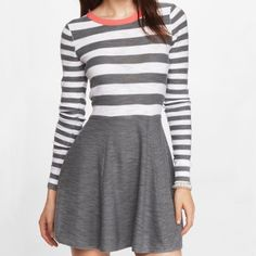 Sweater Dress Express sweater dress. White and gray striped with gray bottom and peach piping around the neck. Express Dresses Mini
