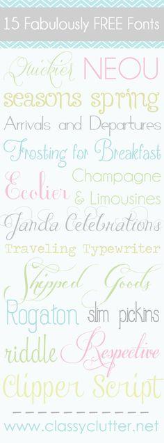 Cute free fonts
