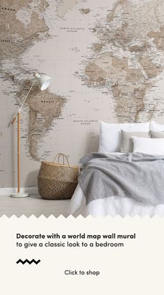 Introduce the Sepia World Map Wallpaper Mural into your interior, a design that is impactful, yet the subtle tones allow it to remain understated in your space. World Map Mural, World Map Wallpaper, Classic Interior, Home Interior Design, Home Interiors And Gifts, Minimalist Decor, Neutral Tones, Wall Design, Murals